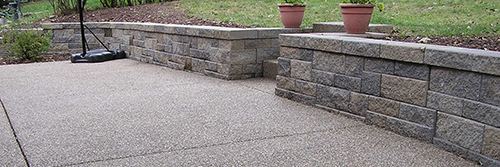Exposed Aggregate Patio & Steps, Versa-lok Walls